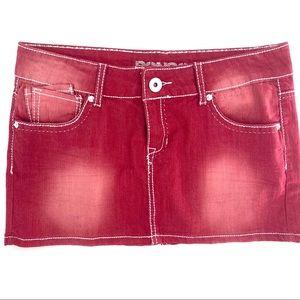 BONGO Red distressed denim jean mini skirt